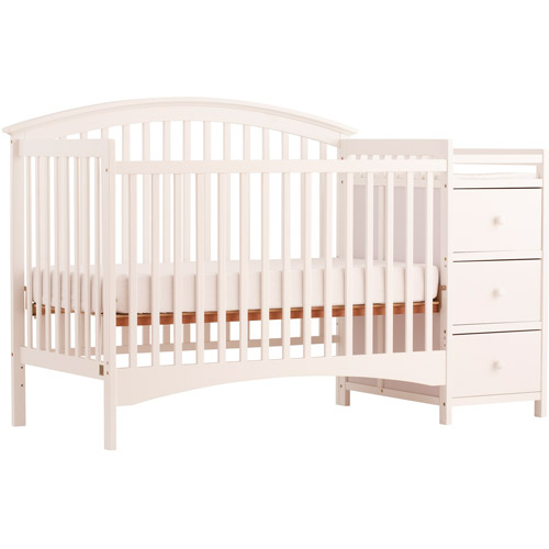 Storkcraft Bradford 4-in-1 Fixed-Side Convertible Crib and Changing Table, White