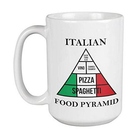 Spaghetti, Pizza, Vino, Cannoli Tiramisu & Everything Else Funny Italian Food Pyramid Coffee & Tea Gift Mug, Kitchen Decor, Collection Items, Dishes, Favors & Gag Gifts For Men & Women Italians (1oz) ()