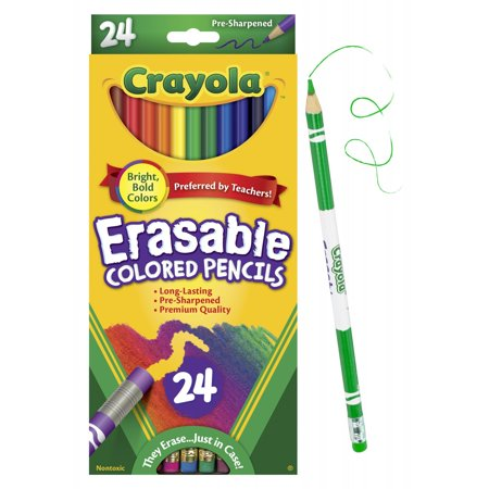 Crayola Eraseable Colored Pencils, 24 Count Dixon Erasable Colored Pencils