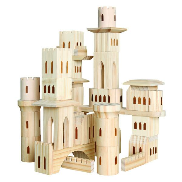 Discovery Kids 69-Piece Wooden Castle Block Set by Discovery Kids
