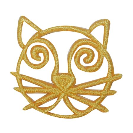Embroidered Emblems - ID 3036D Cat Face Emblem Patch Kitten Symbol Craft Embroidered Iron On Applique
