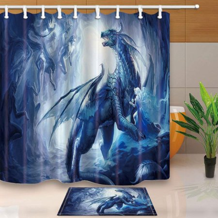 BPBOP Fantasy Decor Dragon with Wing Protect a Girl for Kids Shower Curtain 66x72 inches with Floor Doormat Bath Rugs 15.7x23.6 inches (A Girls Fantasy)
