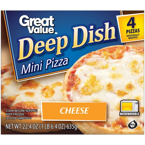Great Value Deep Dish Cheese Mini Pizzas, 4 count, 22.4 oz