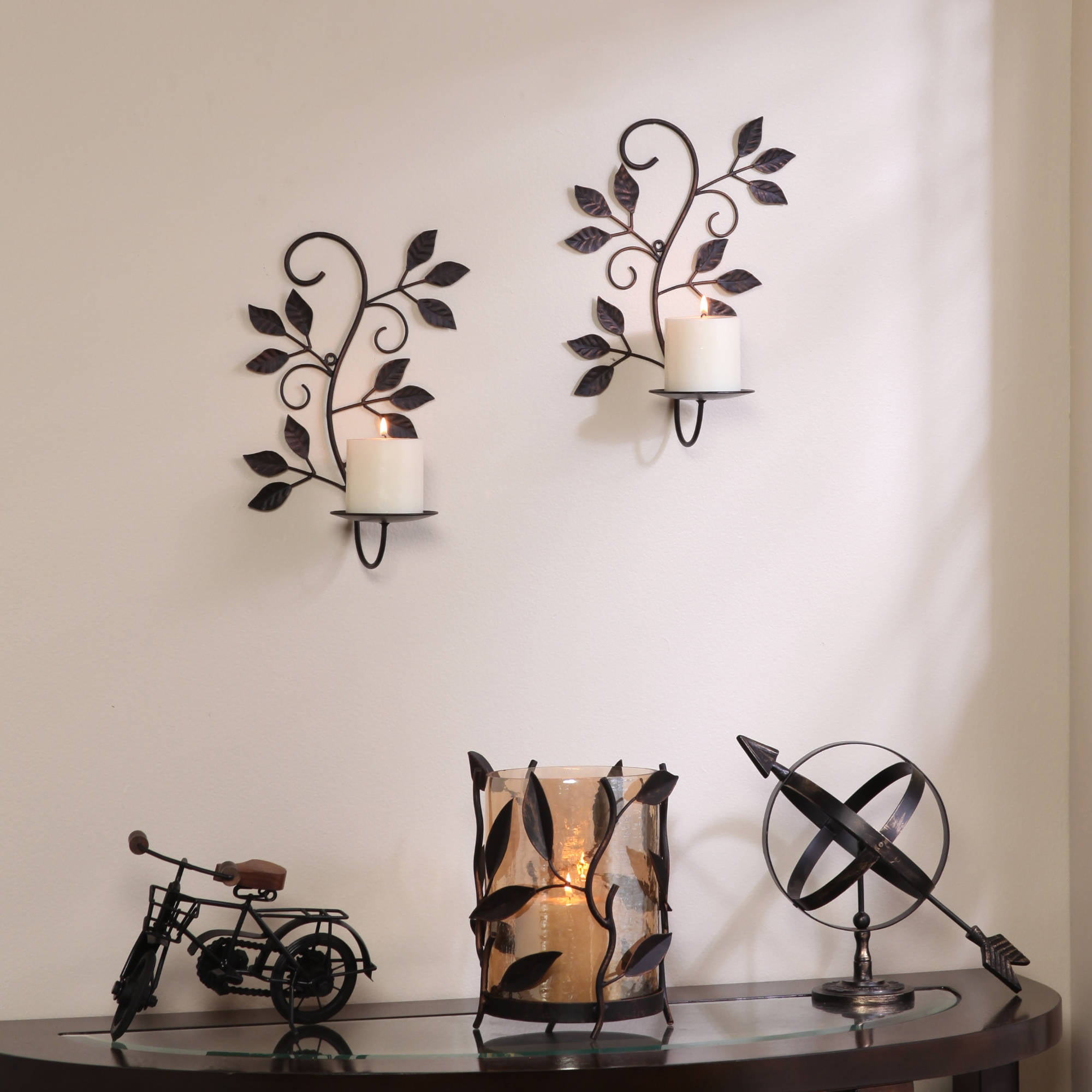 Click here to buy Better Homes and Gardens Scrolled Leaves Wall Sconce Pillar Holders, Set of 2.