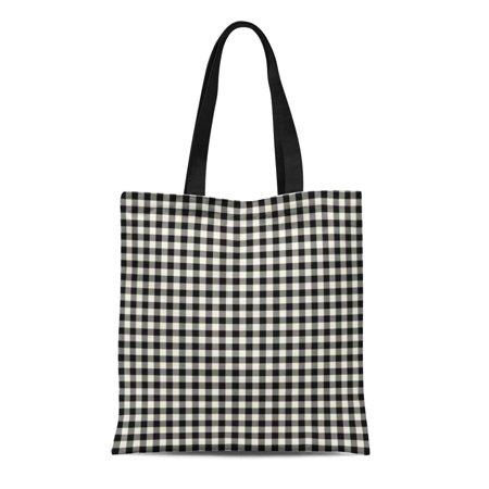 LADDKE Canvas Tote Bag Garden Black and White Gingham Pattern Patio Bright Geometric Reusable Handbag Shoulder Grocery Shopping Bags