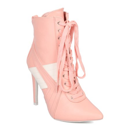 Women Lace Up Stiletto Bootie - Sports Stripe Bootie - Pointy Toe Ankle Boot - HK57 by