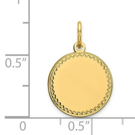 14K Yellow Gold Plain .018 Gauge Engravable Round Disc Charm - image 1 of 2