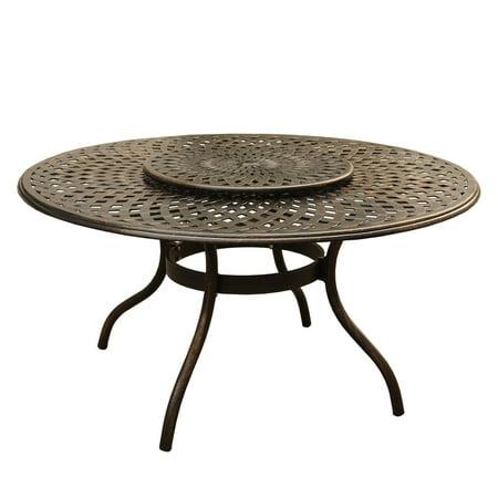 "Image of 59"" Bronze Mesh Lattice Round Aluminum Outdoor Patio Dining Table w/ Lazy Susan"