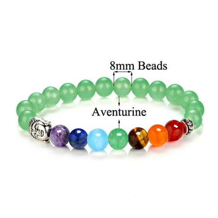 Natural Stone 8Mm Volcanic Stone Chakra Energy Beads Bracelet Green