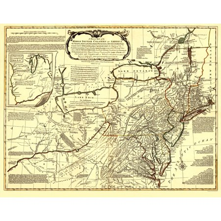 Old Revolutionary War Map - Middle British Colonies in America 1771 ...