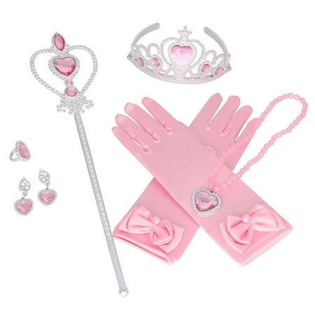 Aniwon 6PCS Princess Dress up Accessories Set Cute Princess Jewelry Crown Gloves Set, Halloween Christams Party Cosplay Costumes for Kids Girls - Princess Aurora Dress