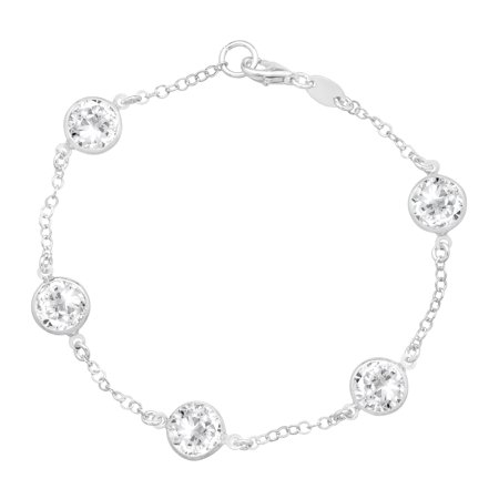 Station Link Bracelet With Swarovski Crystals In Sterling Silver