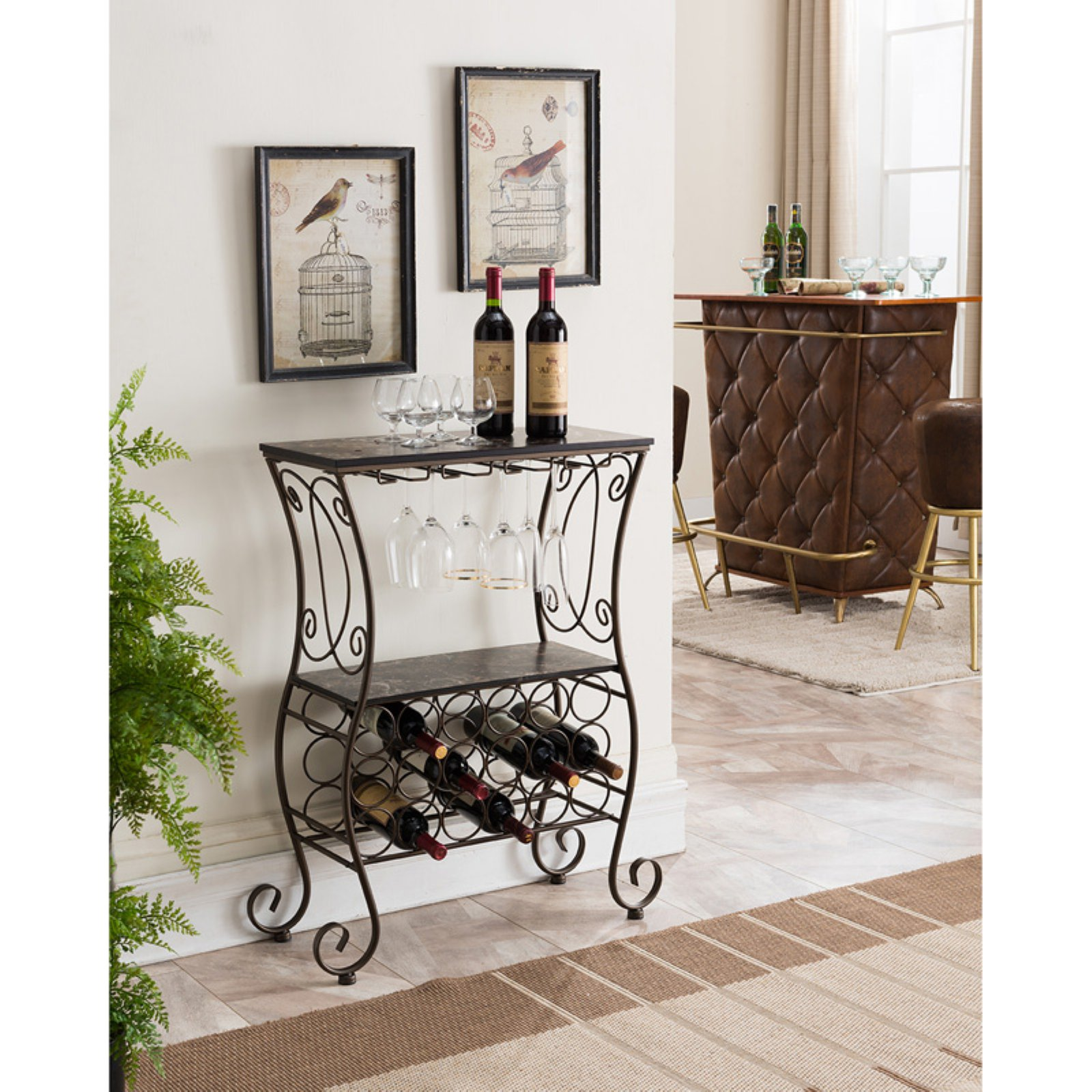 K&B Furniture WR1363 Marble Metal 18 Bottle Wine Rack by K and B Furniture Co Inc