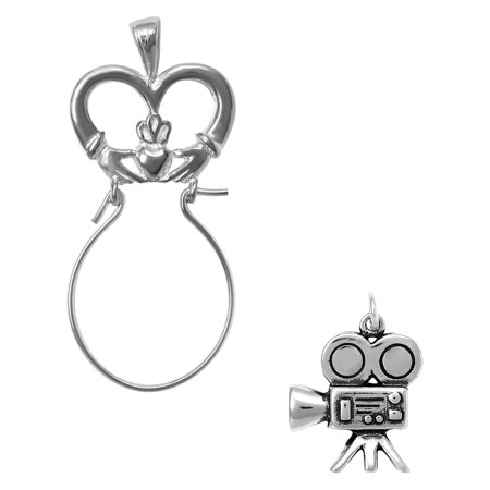Sterling Silver Movie Camera Charm on a Claddagh Charm Holder