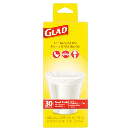 Glad Small Flat Top Trash Bags  4 Gallon  30 Count