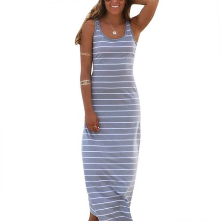 Women Boho Striped Dress Summer Sleeveless Tank Long Maxi Party Beach Dress