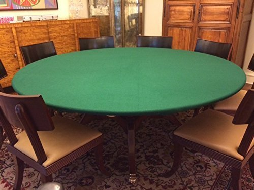 green Felt Poker Table Cover Green fitted Tablecloth For Round 48 Inch Table Patio Table With Elastic Band By PLAYEZZE... by