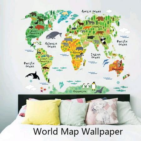 Beautiful Colorful World Map Kids Room