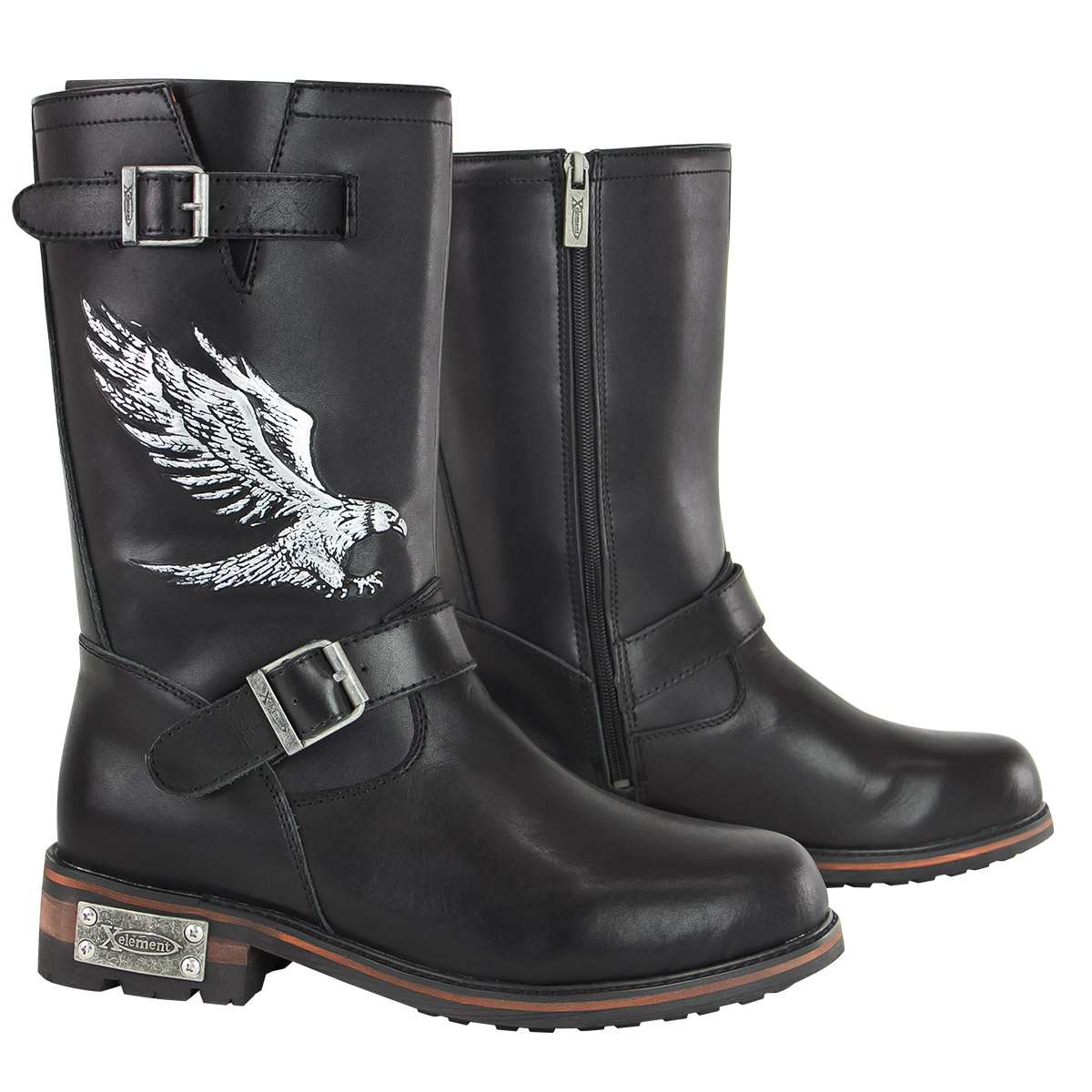 Xelement LU9616 Mens 3D Eagle Print Engineer Boots