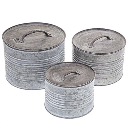 Round Galvanized Metal Box Set with Lids Home Bridal Shower Birthday Gift](Metal Containers)