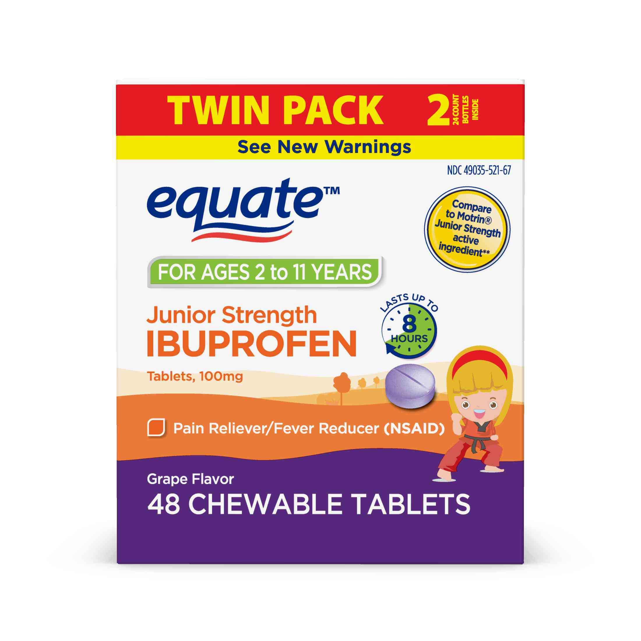 Equate Junior Strength Chewable Tablet Ibuprofen, 100 mg ...