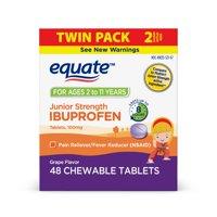 Equate Ibuprofen Chewable Tablets, 100 mg, Grape Flavor, 24 Ct, 2 Pk