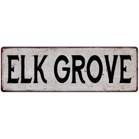 ELK GROVE Vintage Look Rustic Metal 8x24 Sign City State 108240041228 - Party City Elk Grove