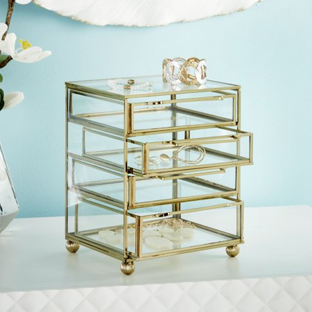 8 X 7 Inch Modern Iron and Glass Four-Drawer Jewelry Box, Gold