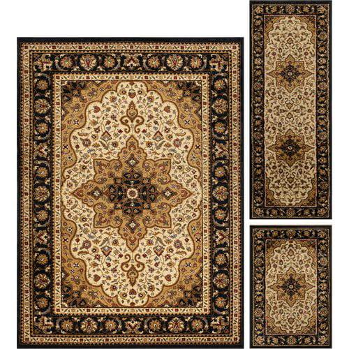 Astoria Grand Sacha 3 Piece Ivory/Brown Area Rug Set