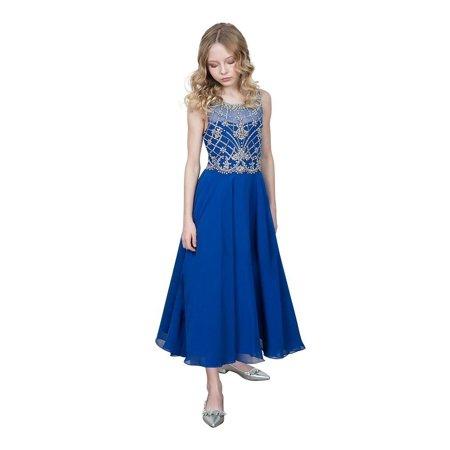 Girls Royal Blue Jeweled Bodice Chiffon Long Junior Bridesmaid Dress