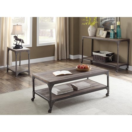 Coffee Table, Weathered Oak & Antique Silver - Pine Veneer, MDF, Iron Fr Weathered Oak & Antique Silver 07 Weathered Iron Finish