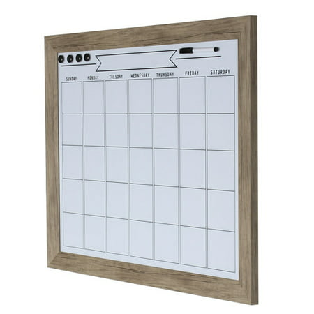 DesignOvation Beatrice Framed Magnetic Dry Erase Monthly Calendar, 23x29, Gray ()