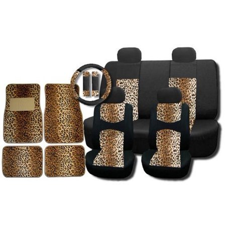 New and Exclusive Mesh Animal Print Interior Set Brown Leopard 15pc Seat Covers Front & Back Lowback, Back Bench, Steering Wheel & Seat Belt Covers - 4pc Floor Mats - (Seat Covers Steering Wheel Covers)