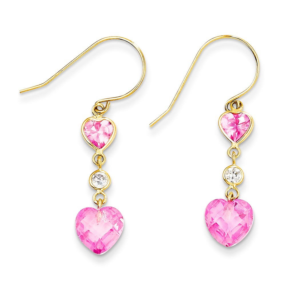 ICE CARATS 14kt Yellow Gold Pink Cubic Zirconia Cubic Zirconia Double Heart Drop Dangle Chandelier Earrings Love Fine... by IceCarats Designer Jewelry Gift USA