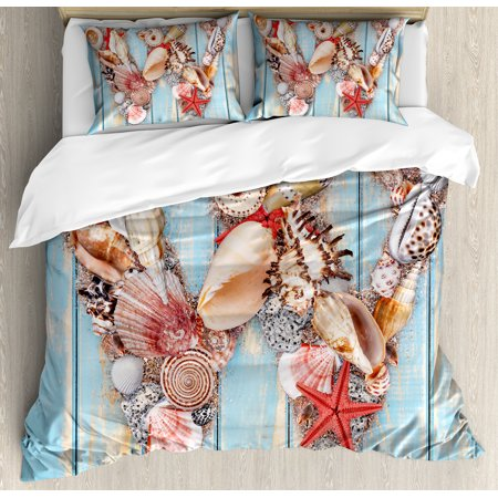 Letter W Queen Size Duvet Cover Set, Oceanic Composition Tropical Seashells Nature Maritime Theme Print, Decorative 3 Piece Bedding Set with 2 Pillow Shams, Pale Blue Ivory Dark Coral, by Ambesonne ()