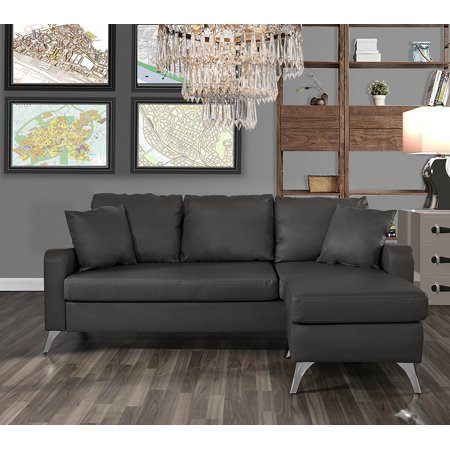 Bonded Leather Sectional Sofa - Small Space Configurable Couch (Dark Grey)
