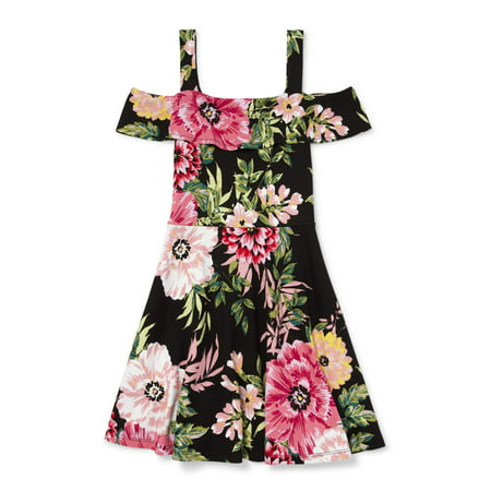 Floral Cold Shoulder Dress (Big Girls) - Size 7 Girls Dresses