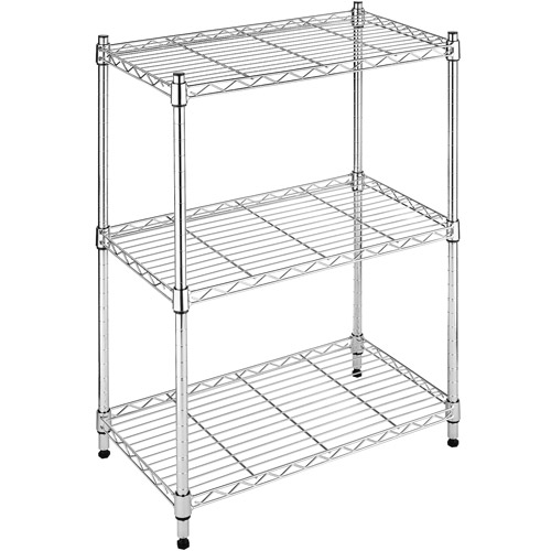 Whitmor Supreme Small 3 Tier Shelving Adjustable Chrome Walmart Com