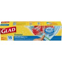 Glad Zipper Food Storage Freezer Bags - Gallon - 15 Count