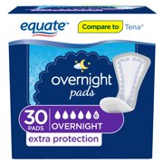 Equate Overnight Contoured Pads, Ultimate Absorbency Extra Protection, 30 count