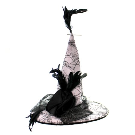 Halloween SPIDER WEB WITCHES HAT Fabric Felt Rosette Bow W/ Feathers
