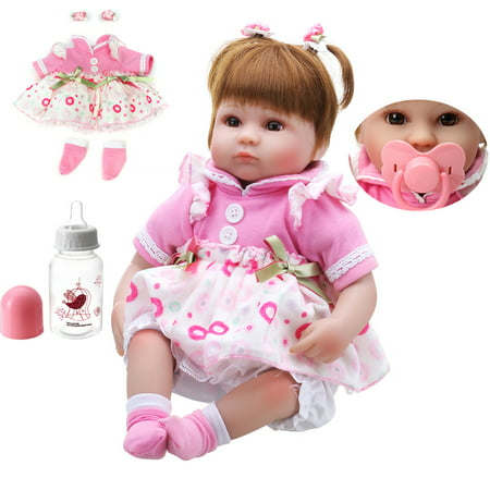 """OUBEIER 22"""" 11"""" Realistic Reborn Baby Doll Girls with Blinking Eyes Magnetic Pacifier Wearing Beautiful Dress Bottle Accessories Full Body Silicone Vinyl Lifelike Baby Toy Handmade"""