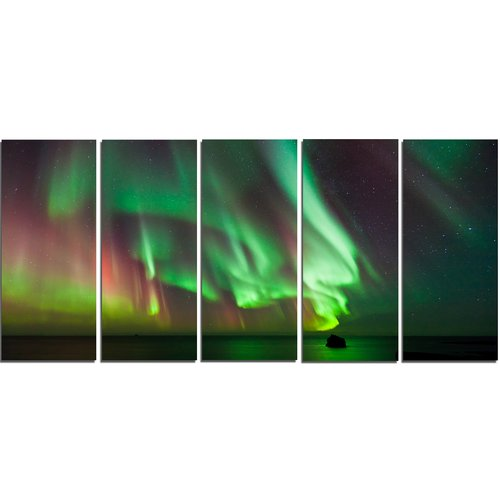 Design Art 'Green Northern Lights Aurora' 5 Piece Graphic Art on Wrapped Canvas Set