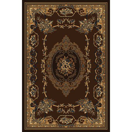 Designer Home Urban Area Rugs - 040-38150 Traditional Oriental Brown Bordered Floral Medallion Rug