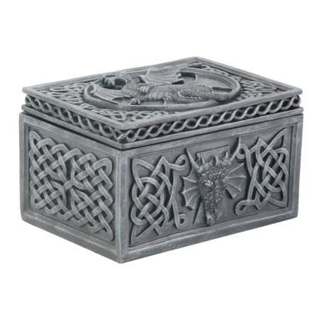 Dragon Celtic Jewelry Box Collectible Tribal Container Sculpture