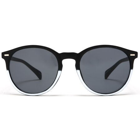Florence Round Sunglasses Black White - White