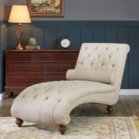 Belleze Teofila Tufted Chaise Lounge Chair Leisure Sofa Couch With Bolster Pillow Nailhead Trim and Turned Legs, Beige