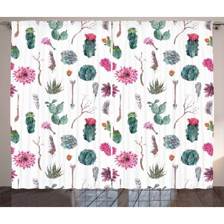 Cactus Curtains 2 Panels Set, Vintage Botanical Pattern Arrows Feathers Succulent Twigs Hawaii Spring Tropics, Window Drapes for Living Room Bedroom, 108W X 63L Inches, Multicolor, by Ambesonne ()
