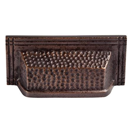 The Copper Factory Solid Cast Copper Rectangular Bin Pull on 3in Cente