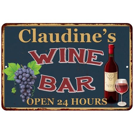 Claudine's Green Wine Bar Wall Décor Kitchen Gift 8x12 Metal 208120043931 ()